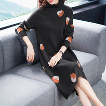 Turtleneck elastic knit loose sweater dress 2018 new women autumn winter basic long sleeve