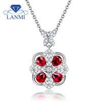 Women Party Jewelry Pear Cut 3.5x4.5mm Red Ruby Diamond Pendant In 18Kt White Gold WP033