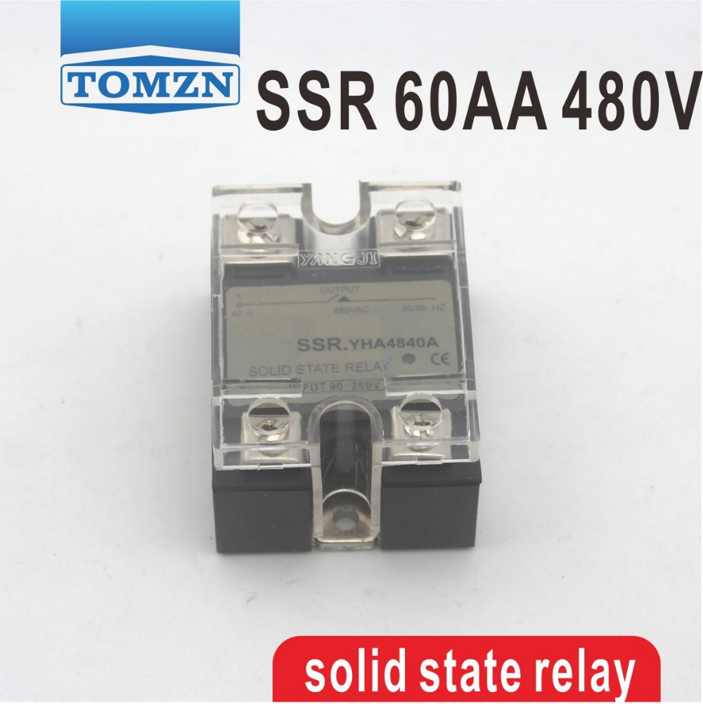 60AA SSR input 90-250V AC load 24-480V AC High voltage single phase AC solid state relay high quality ac ac 80 250v 24 380v 60a 4 screw terminal 1 phase solid state relay w heatsink
