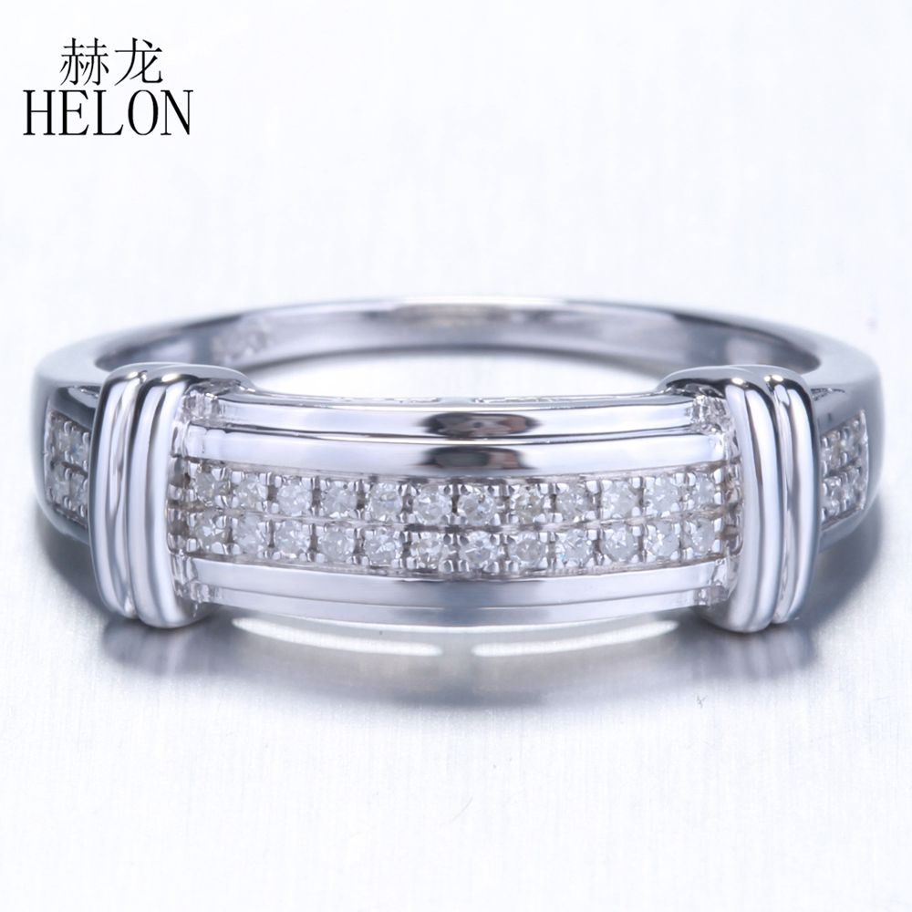 HELON Hot!!! Diamonds Silver Ring Fine Jewelry 925 Sterling Silver Pave Natural Diamonds Ring Engagement Women Jewelry Fine Ring