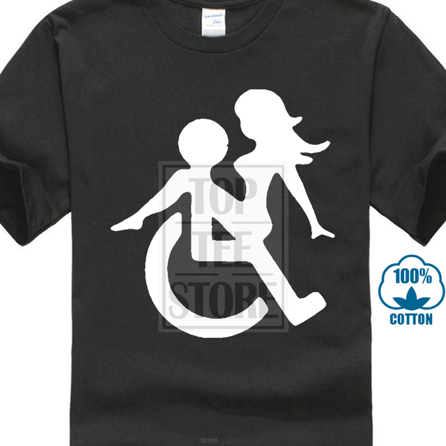 Funky T Shirts Broadcloth Design Basic Top New Wheelchair Sex Funny