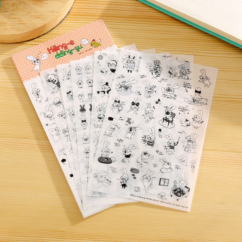 6 Sheets/lot Black & White Rabbit Paper Sticker DIY Scrapbooking Diary Album Sticker Post Stationery School Supplies