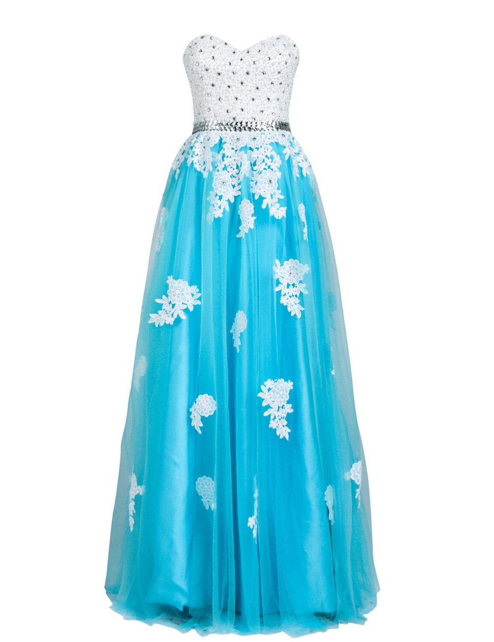 blue lace up sweetheart beaded prom dress