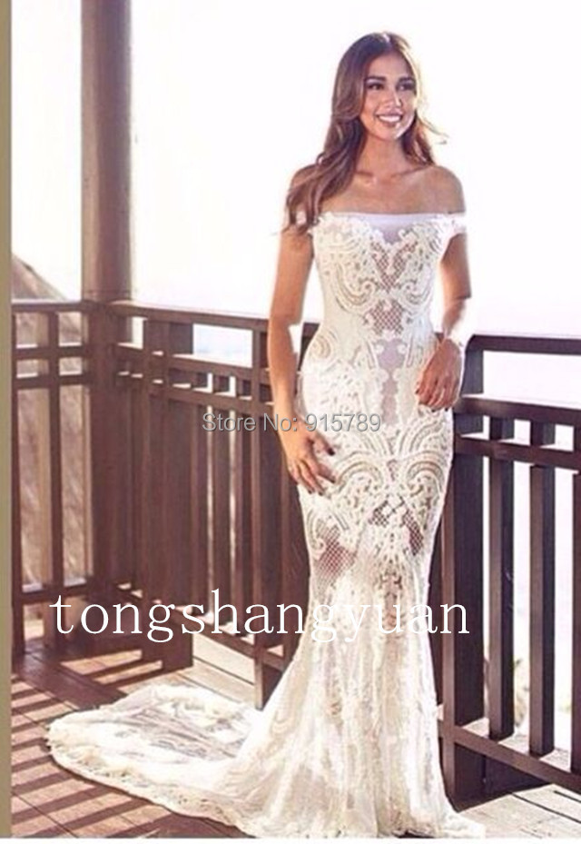 online shop noble wedding dress see through mermaid strapless white ivory lace custom made 2015 summer aliexpress mobile