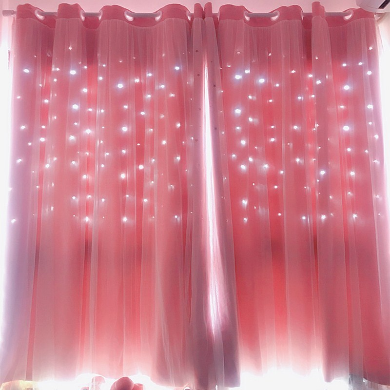 Hollow Star Pink Blackout Curtains For Living Room Bedroom Window Curtain For Princess Room Blinds Stitched With White Voile 1pc