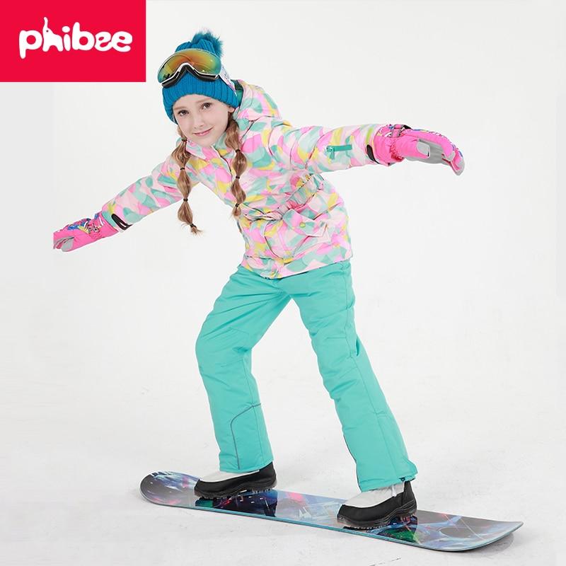 Phibee 2016 Girls Ski Set Outdoor Waterproof Windproof Winter Ski Jacket Children Warm Skiing Suit phibee girls ski jacket windproof waterproof kids ski jacket 8015 free shipping