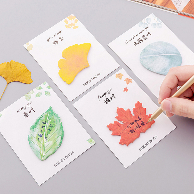4 Pcs/Lot Leaves Decoration Memo Pad Sticky Notes Paper Sticker Notepad Kawaii Stationery Pepalaria Office