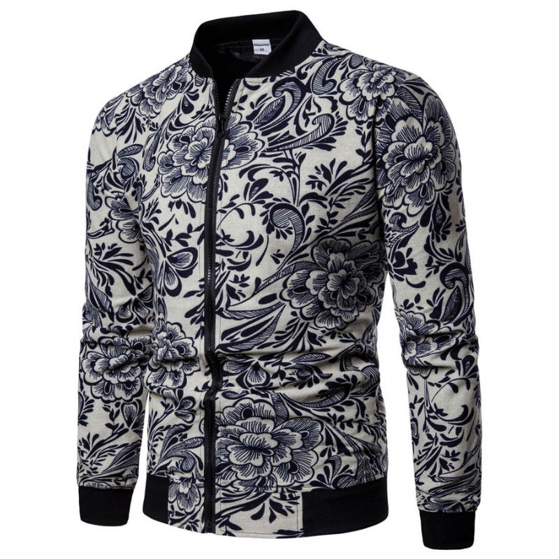 2018 New Fashion Men's Jacket Flower Print Bomber Jacket Autumn Jaqueta Masculino Casual Male Clothing Size 5XL 6XL