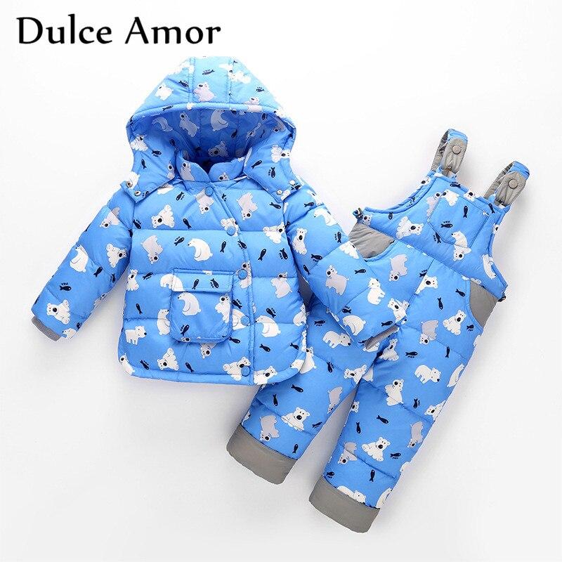 все цены на Dulce Amor Kids Down Jacket 2018 New Winter Children Skiing Suit Baby Boys Girls Warm Snowsuit Outerwear+Romper Drop Shipping онлайн