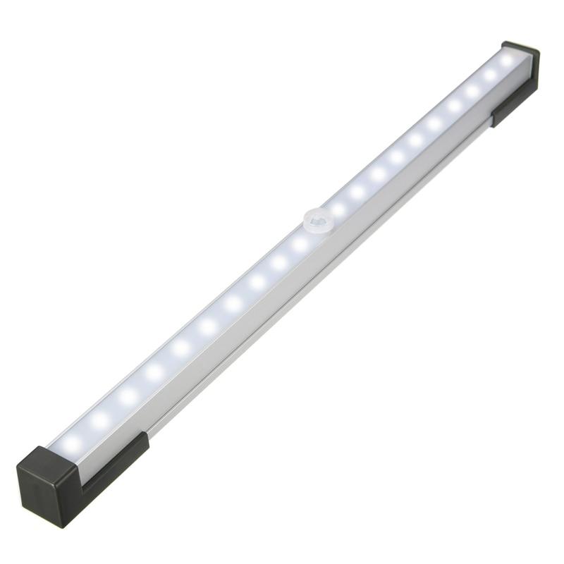 Battery Powered Under Cabinet Led Strip Lighting: 3 Modes 34CM Wireless PIR Motion Sensor 20 LED Bar Light