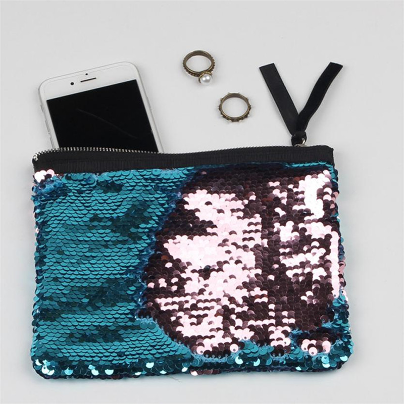 2018 Fashion Sequins Monederos Mujer Monedas Women Double Color Wallet Card Holder Coin  ...