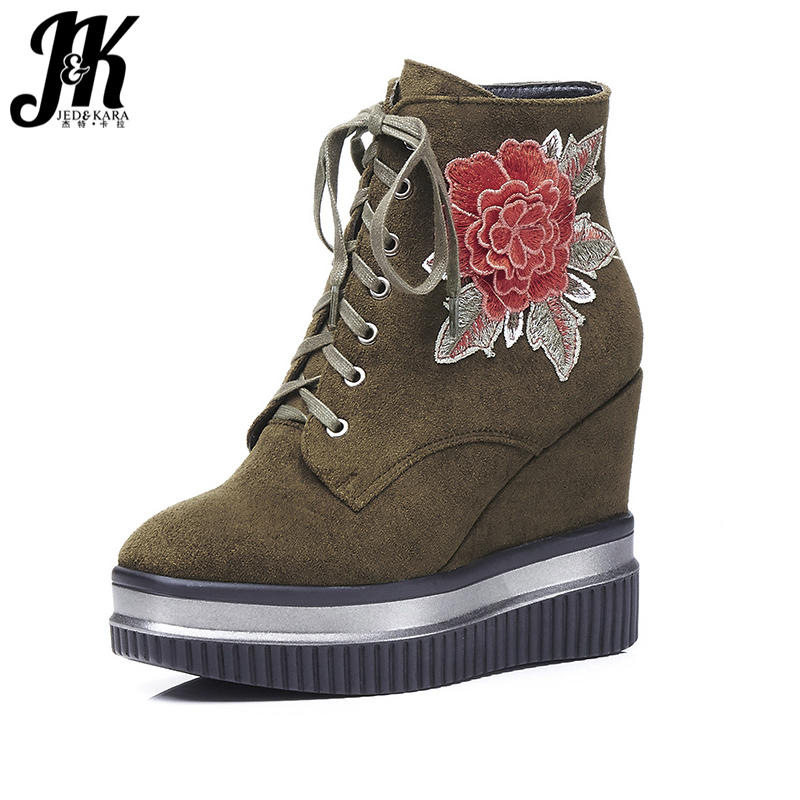 JK 2018 Designer Shoes Women Embroider Ankle Boots Women Lace up Zip High Wedges Boot Female Platform Winter Boots Square toe designer luxury designer shoes women round toe high brand booties lace up platform ankle boots high quality espadrilles boot