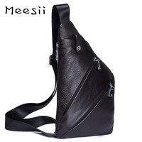 Meesii Men Waist Bag Male Genuine Leather Chest Bag Casual Double Zipper Belt Bag Soft Phone Fanny Pack Small Travel Waist Packs