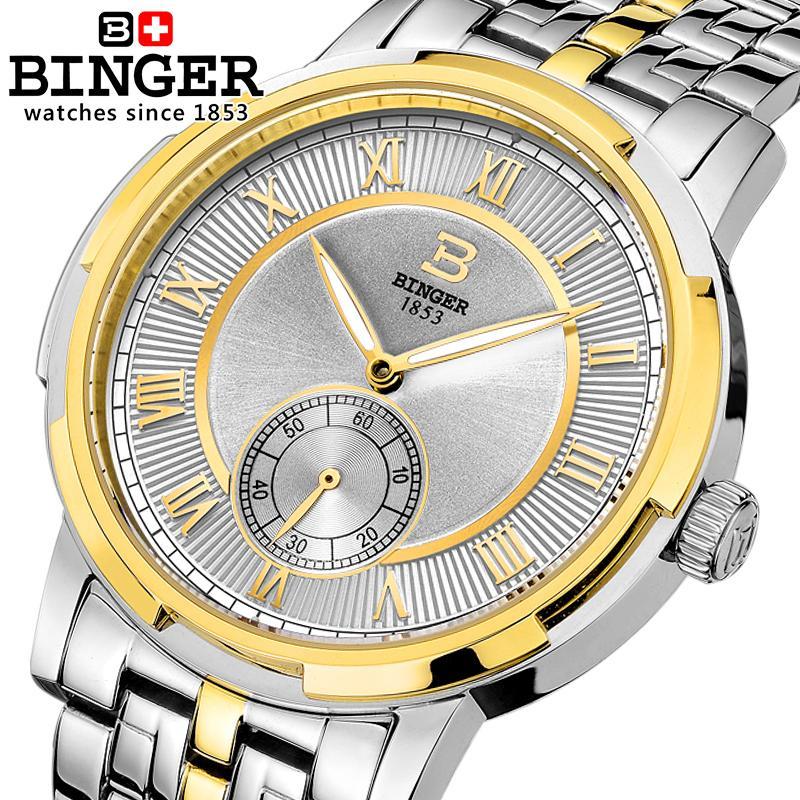 Switzerland watches men luxury brand BINGER glow Mechanical Wristwatches leather strap Water Resistant men's watch B-5037-6