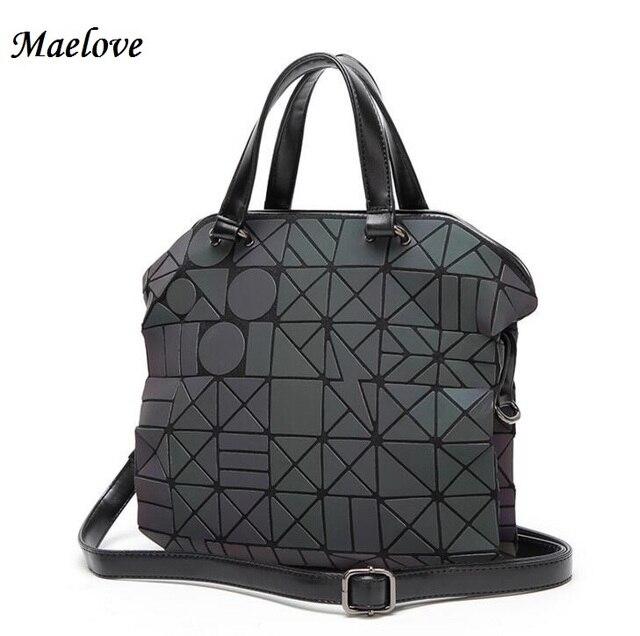 Maelove New Women Luminous Sac Bag Diamond Tote Geometry Quilted Shoulder Bags Laser Plain Folding Handbags