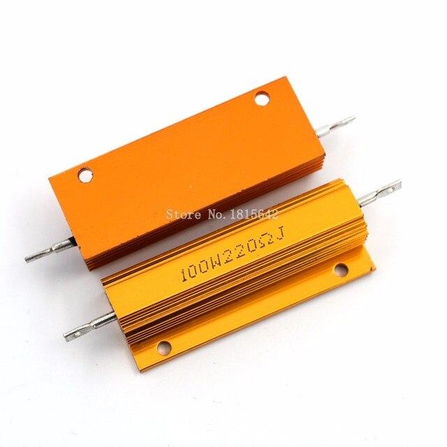 RX24 100 Вт 220R 220rj металла В виде ракушки из алюминия золото резистор высокое Мощность сопротивление Золотой теплоотвод резистор 100 Вт 220 ом