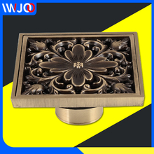 Floor Drain Cover Square Antique Brass European Bathroom Shower Drainer Filter Anti-odor Peony Pattern Floor Waste Grates цена 2017