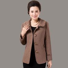 Middle-aged Wool Coat Solid Turndown Collar Mother Dress Fall And Winter Clothes Plus Size Short Cashmere Coat Female J024