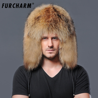 Men's Winter Hats Genuine Raccon Fur Cap with Ears Russian Outside Warm Whole Piece Raccoon Fur Hats for Men with Leather String