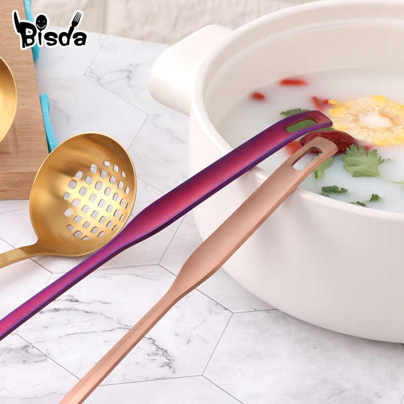 2 шт посуда из нержавеющей стали матовый суп половник и половник-дуршлаг набор кухонных инструментов длинная ручка щелевая ложка с отверстиями настенный