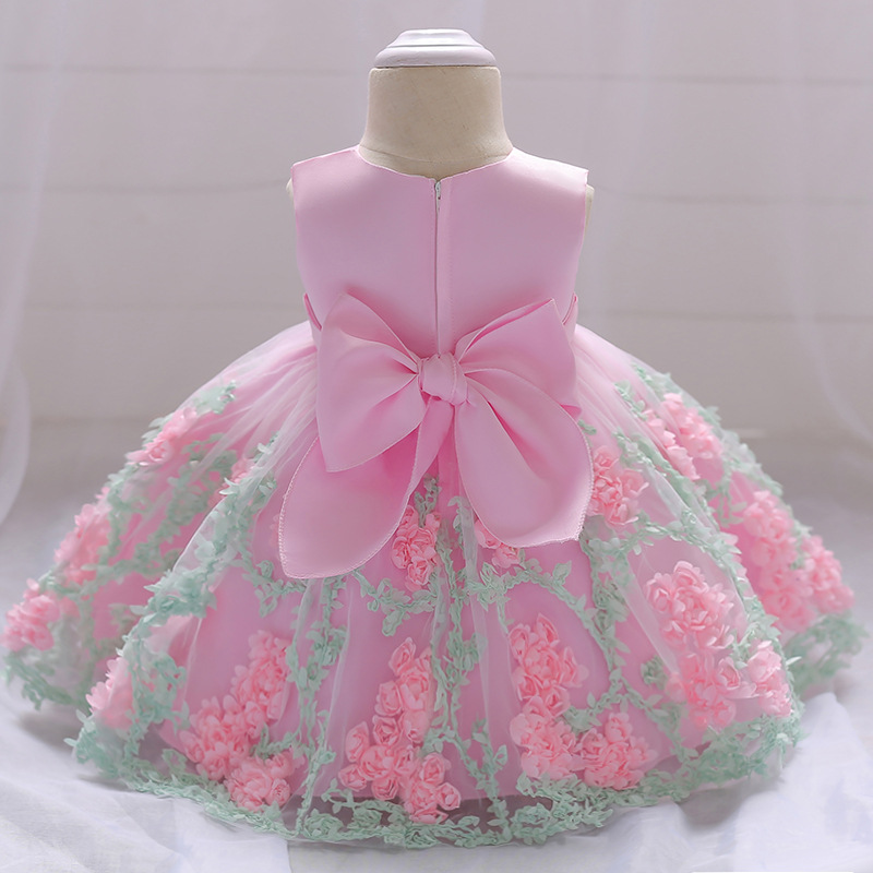 Flower Toddler Baby Girl Infant Princess Dress Baby Girl Wedding Dress Lace Tutu Kids Party Vestidos for 1 Years birthday baby girl easter tutu dress mint green with pink rose girl flower dreas birthday wedding party tutu dress for baby girl
