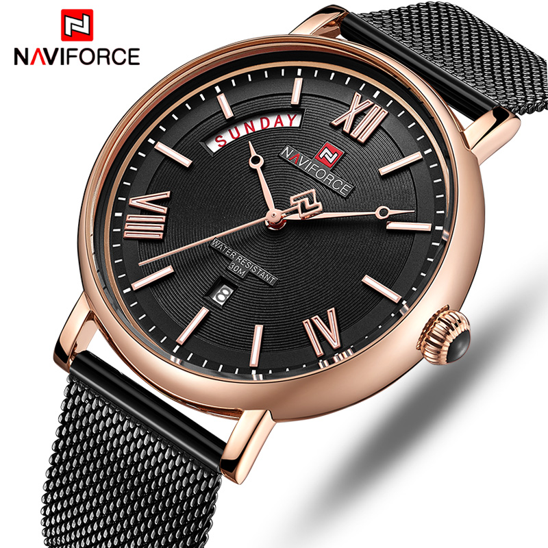 NAVIFORCE Top Brand Luxury Watch Men Steel Analog Quartz Wrist Watch Mens Waterproof Sport Watches Relogio MasculinoNAVIFORCE Top Brand Luxury Watch Men Steel Analog Quartz Wrist Watch Mens Waterproof Sport Watches Relogio Masculino