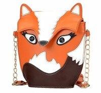 Comercio al por mayor 5 unids * de las mujeres de moda bolso de cuero de zorro de dibujos animados de hombro de Las Señoras bolsa de mensajero Naranja
