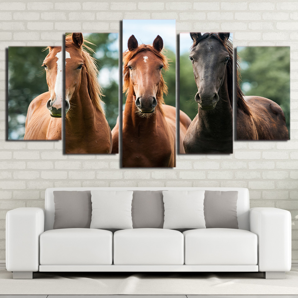 Wall Art Canvas Painting 5 Piece HD Print Brown Horse Race Posters and Prints Animal Canvas Art Home Decor No Framed