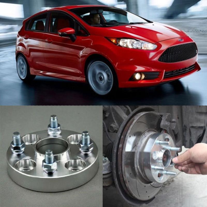 Teeze 4pcs New Billet 4 Lug 12*1.5 Studs Wheel Spacers Adapters For Ford Fiesta 2004-2018 4pcs new billet 5 lug 14 1 5 studs wheel spacers adapters for volkswagen touareg