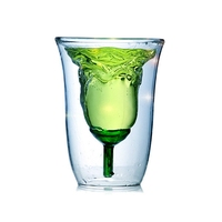 Flower Shaped Double Layer Cup Heat Resistant Coffee Beer Tea Milk Cup Whisky Glassware Bar 180ml