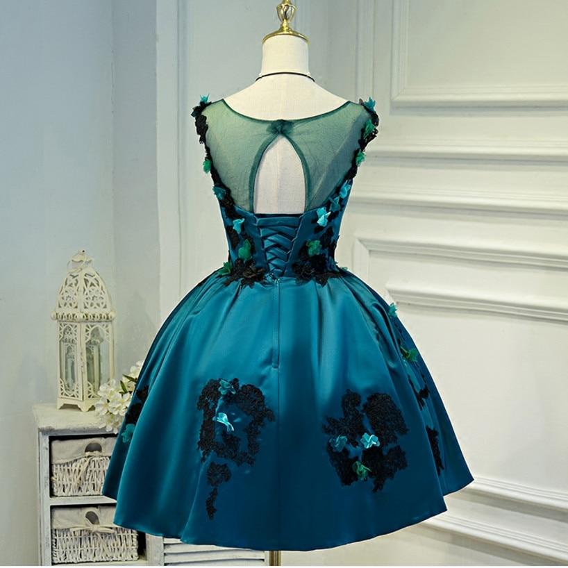 e00c73abd Pavo Real azul corto vestido de noche sin mangas Appliques flor satén lujo  formal vestido de fiesta banquent vestido de fiesta robe de Soiree en  Vestidos de ...