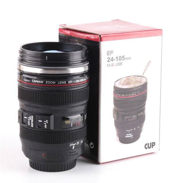 New Creative Camera Lens Coffee Tea Cups Mug Sport Silicone 400ML Travel  Water Cups And Mugs