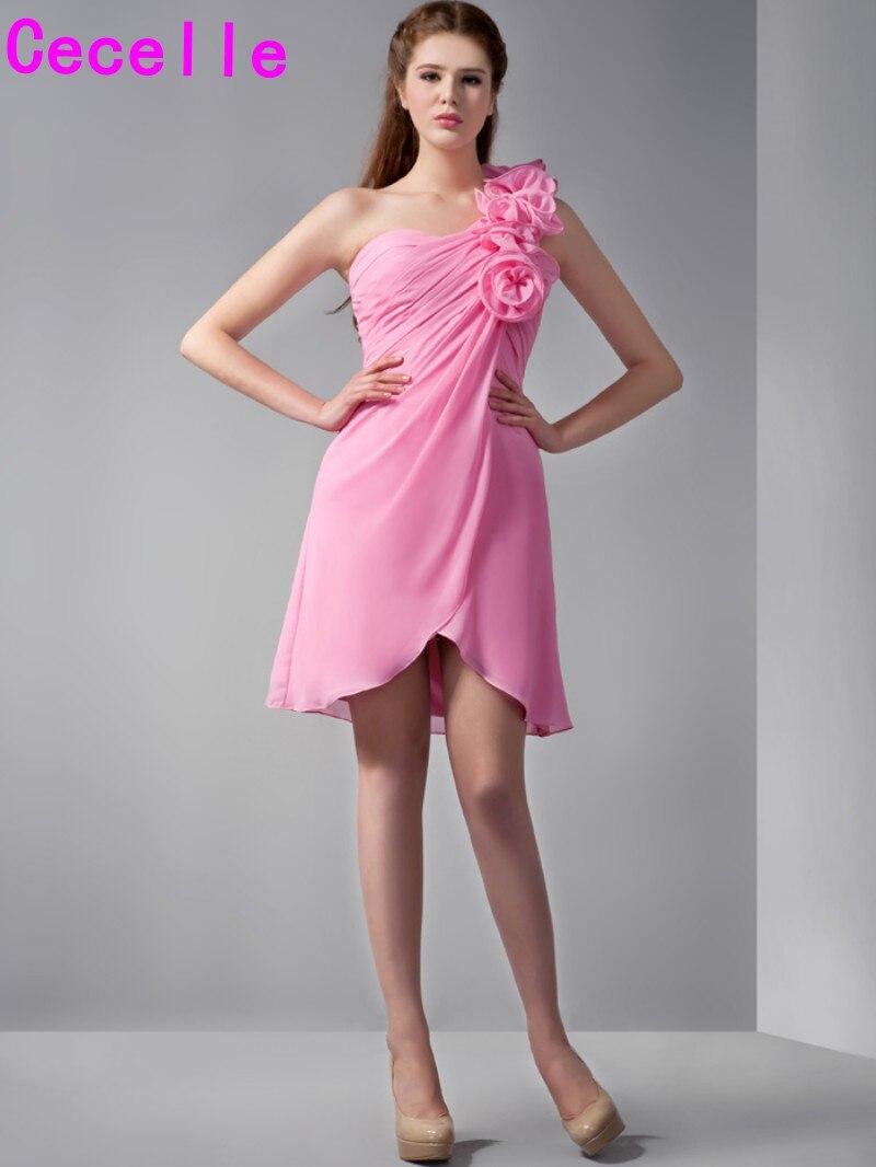 ショートミニaラインワンショルダーシフォン新婦のドレスでストラップ花女の子カジュアル結婚パーティードレス素朴な花嫁介添人