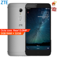 """Original ZTE Blade A2S Octa Core A2 S 3GB RAM 32GB ROM 4G LTE Mobile Cell Phone 5.2"""" HD 13MP Android 6.0 Fingerprint Dual SIM 1"""