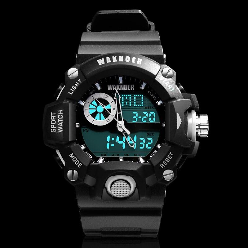 WAKNOER Montre-Bracelet Hommes Étanche LED Numérique Montre Militaire Montre de Sport Hommes Horloge relojes para hombre relogio masculino
