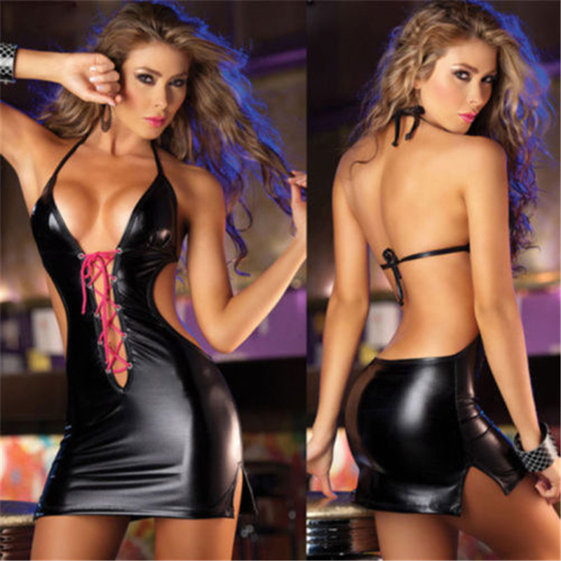 HTB1WpGblf2H8KJjy0Fcq6yDlFXap Sexy Babydoll Night Club Lace up Women Dress PU Leather V-Neck Bandage Backless Strappy Halter Dresses Women Clothes
