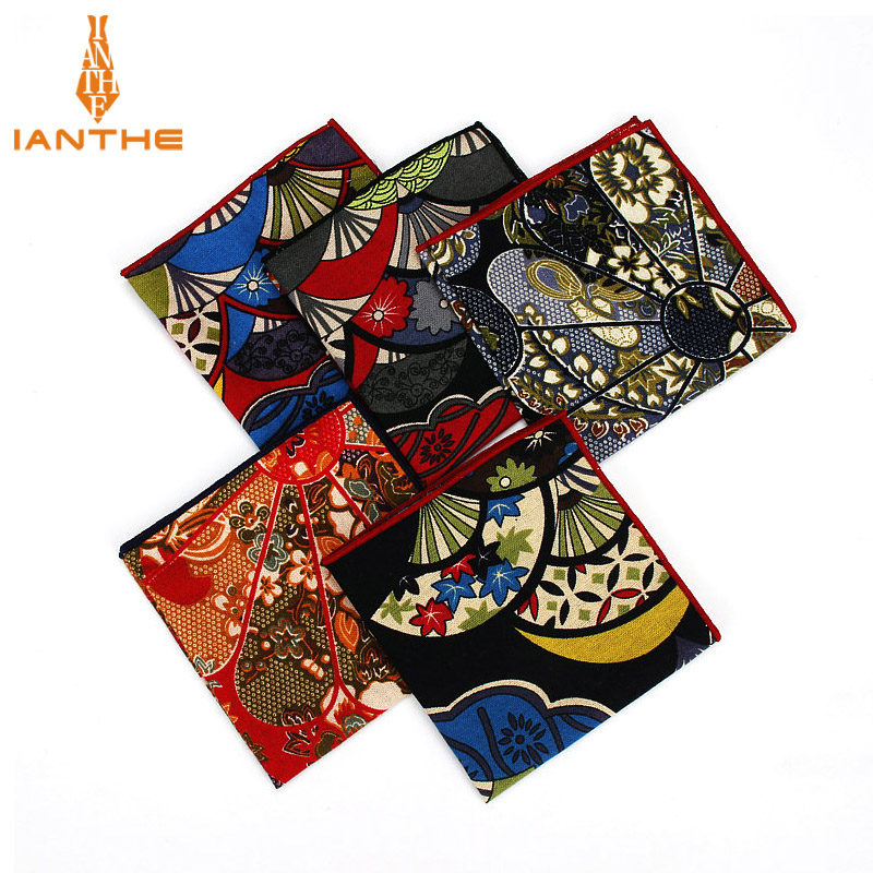 2018 Men's Suits Linen Handkerchiefs Woven Floral Vintage Pocket Square Hankies Men's Business Casual Square Pockets Hanky Towel