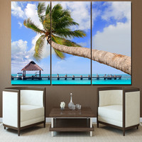 DHD Printed 1 Piece Modular Wall Paintings Ji Li Island Landscape Coconut Trees Picture Frame Home Decor Free Shipping MH6784