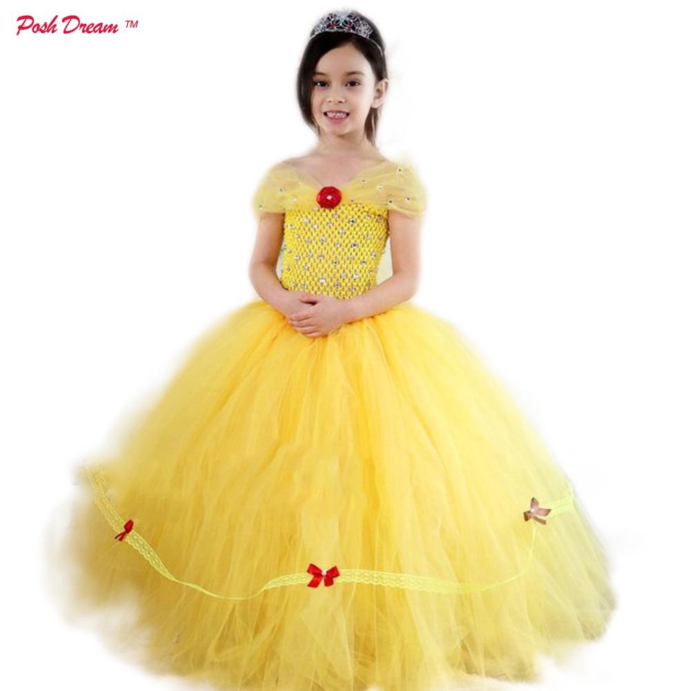 937deed603 POSH DREAM Beauty and The Beast Tutu Dress for Birthday Party Belle Princess  Tutu Dress Yellow