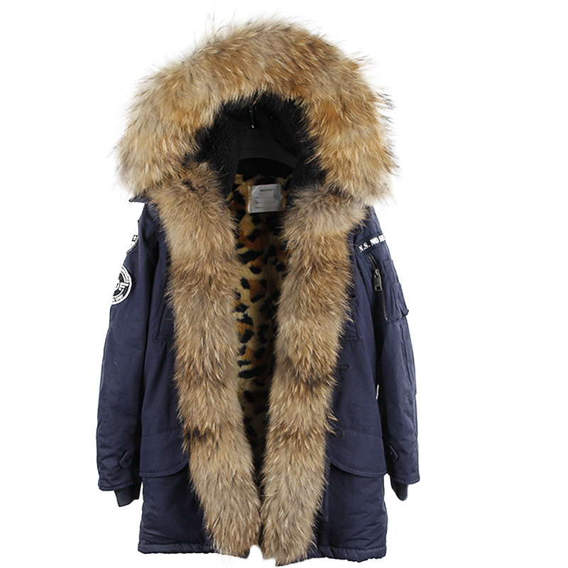 maomaokong Winter Coat Women Long Fur Jacket Raccoon fur  Faux Fur Lined Denim Parka Winter Fur Lines Female Hooded Overcoat 2017 winter new clothes to overcome the coat of women in the long reed rabbit hair fur fur coat fox raccoon fur collar