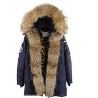 maomaokong Winter Coat Women Long Fur Jacket Raccoon fur Faux Fur Lined Denim Parka Winter Fur Lines Female Hooded Overcoat