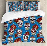 Sugar Skull Decor Duvet Cover Set Retro Mexican Cultural Pattern on Polka Dots Rose Bouquets Skeletons 4 Piece Bedding Set