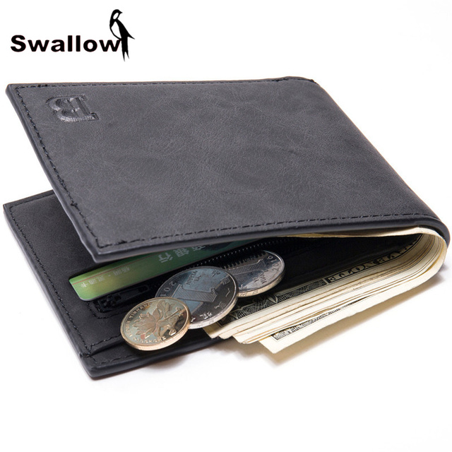 SWALLOW Black Leather Men's Wallet With Coin Pocket Card Holder Short Wallets For Men Luxury Brand Male Purse Dollar Price