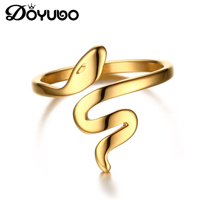 DOYUBO New Women's Stainless Steel Gold Color Snake Rings High Polished Lady Finger Ring For Party Punk Design Jewelry DE028 бра eurosvet 12075 1 белый strotskis page 5