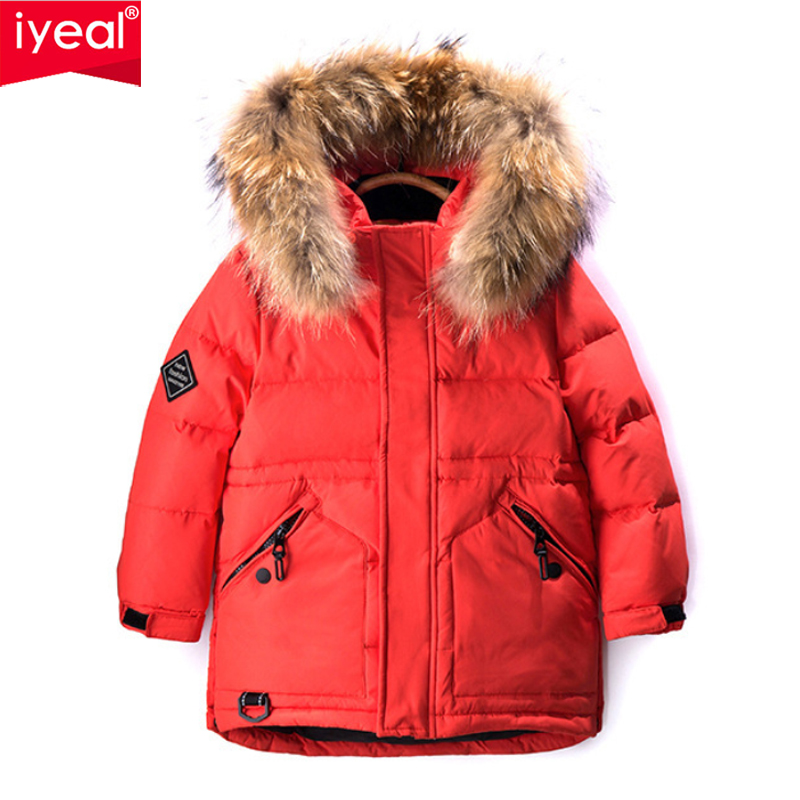 IYEAL Winter White Duck Down Jacket for Boys Fashion Casual Hooded Thick Warm Long Coat Children Real Large Fur Collar Outerwear 2016 high quality casual coat for boys mandarin collar polyester juegos infantiles for children nttz 206