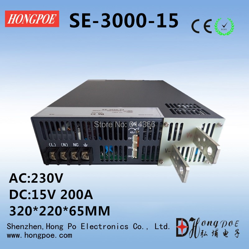 все цены на 1PCS 3000W DC 0-15v power supply 15V 200A AC-DC High-Power PSU 0-5V analog signal control DC15V SE-3000-15 онлайн