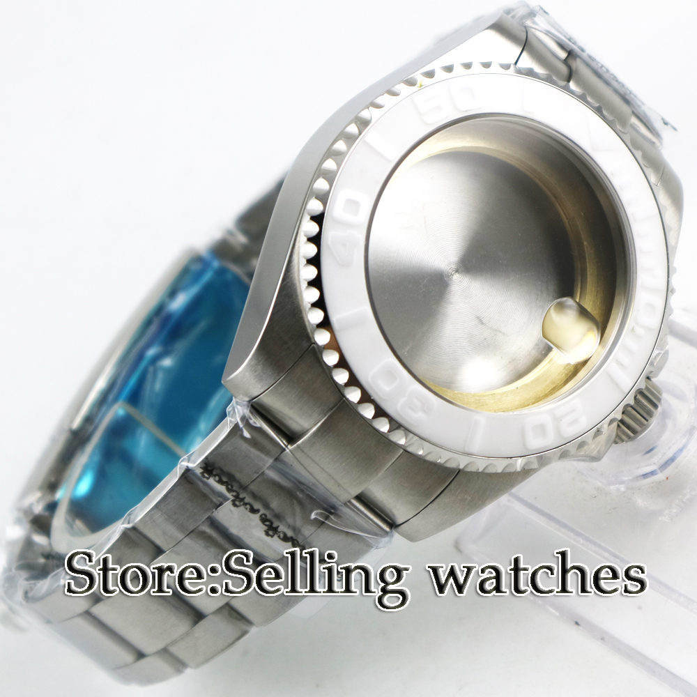 43mm sapphire glass white caremci bezel Watch Case fit 2824 2836 MOVEMENT цена и фото