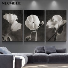NUOMEGE Beautiful Flowers Posters and Prints Black White Wall Art Canvas Painting Picture Nordic Poster Home Decor