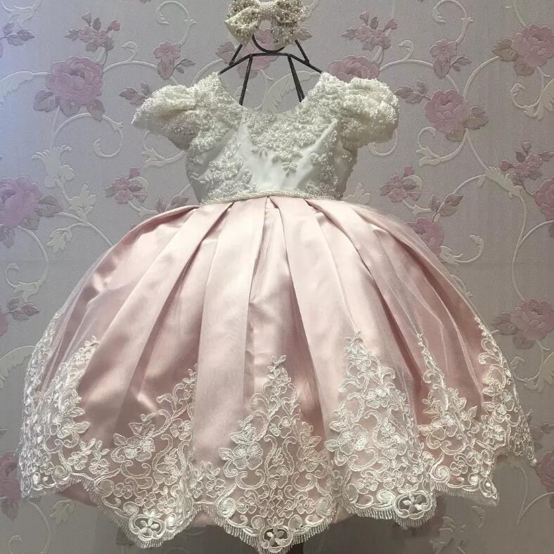New Shiny Pearls Baby Girls Birthday Party Dress Lace Applique Flower Girls Dresses for Wedding Custom Made best selling girls lace dress baby ball gowntutu baby dress party factory price direct selling custom made