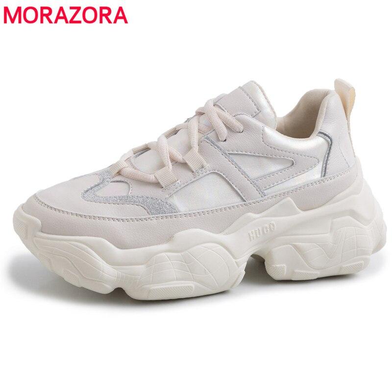 MORAZORA 2019 en cuir véritable femmes baskets à lacets respirant et confortable chaussures décontractées plate-forme dames chaussures livraison directe